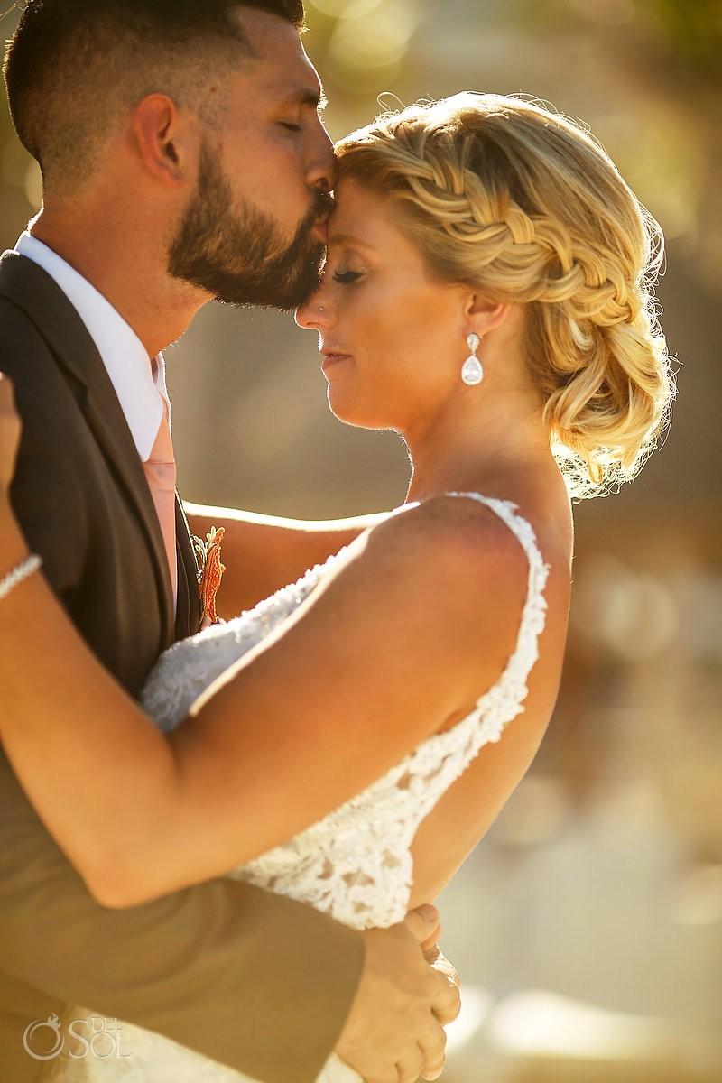 golden hour couple portrait Beach Palace Wedding Photographer Cancun Mexico
