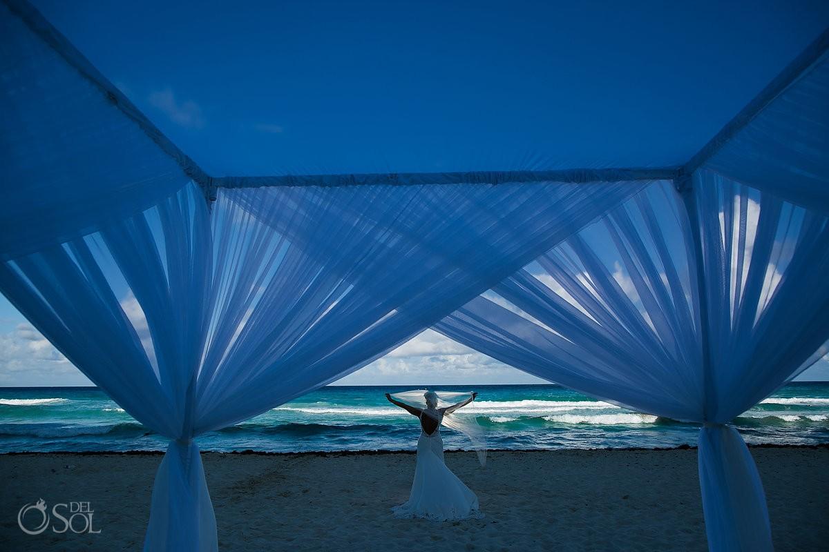 Bride silhouette Beach Palace Wedding Cancun Mexico