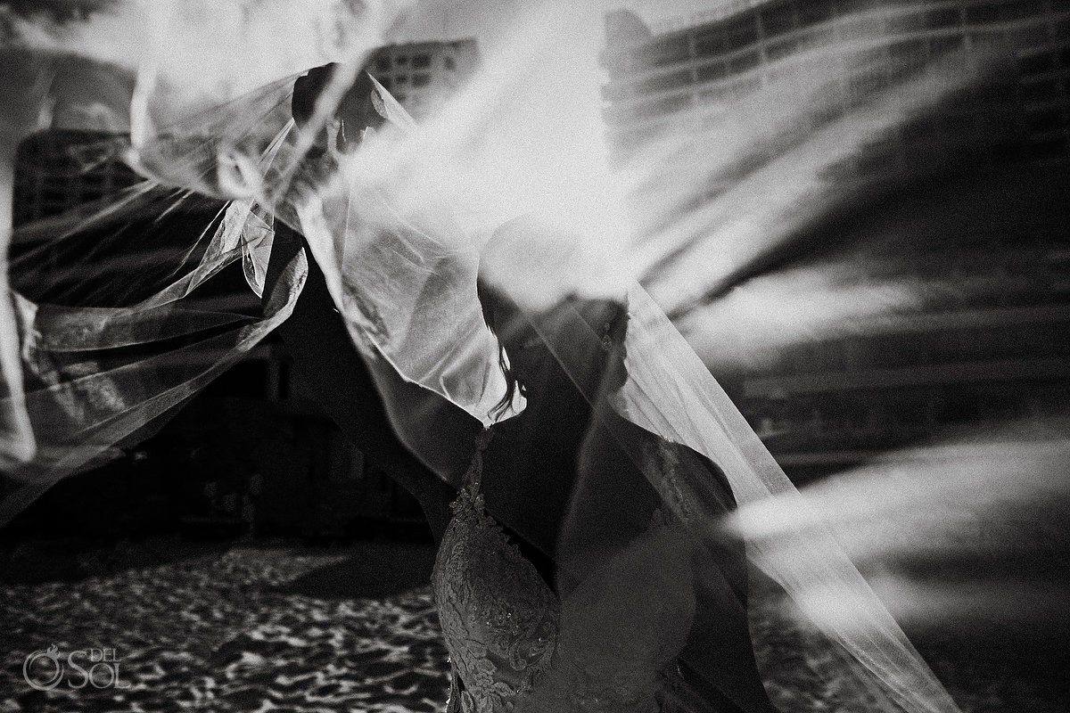 black and white artistic bride portrait