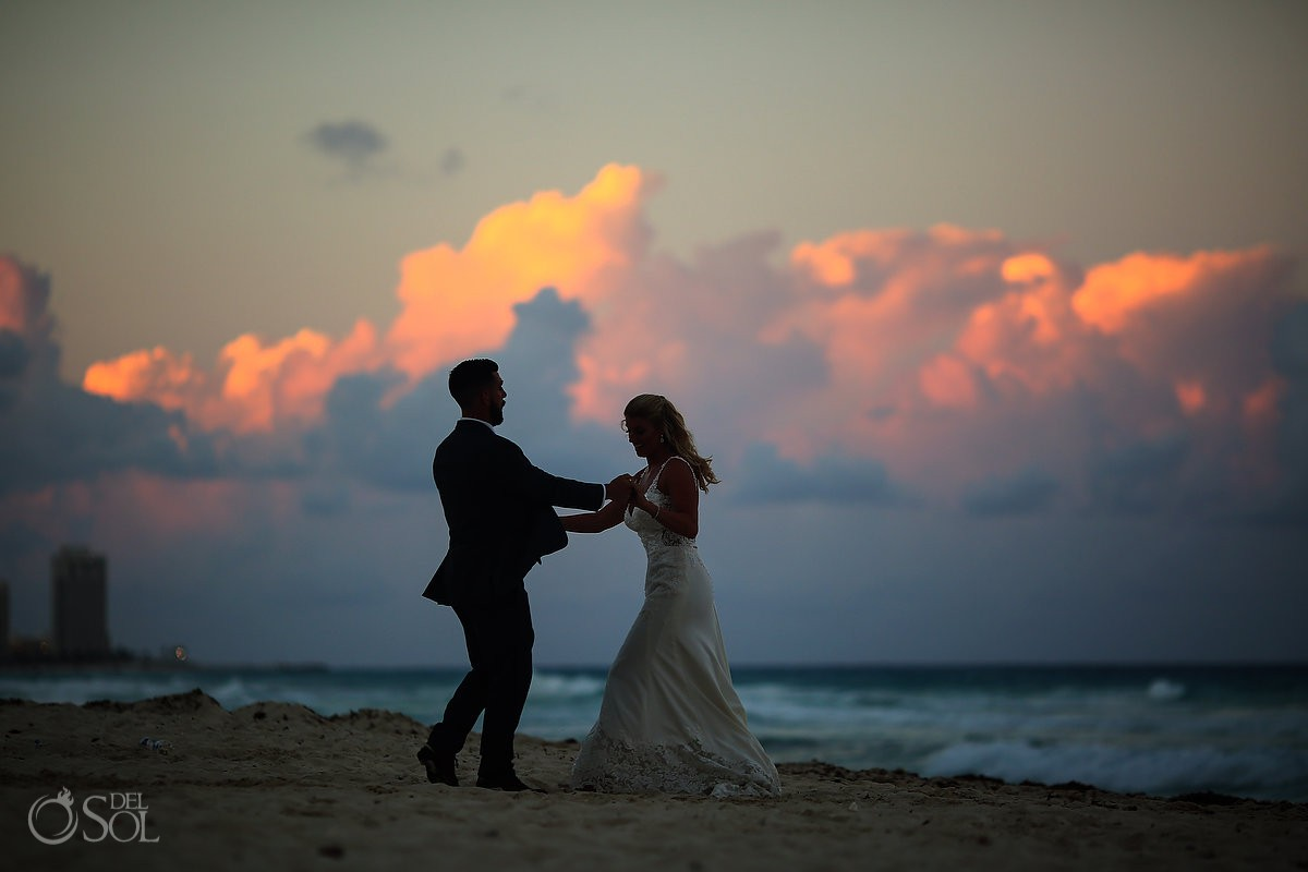 Sunset beach silhouette Beach Palace Wedding Cancun Mexico