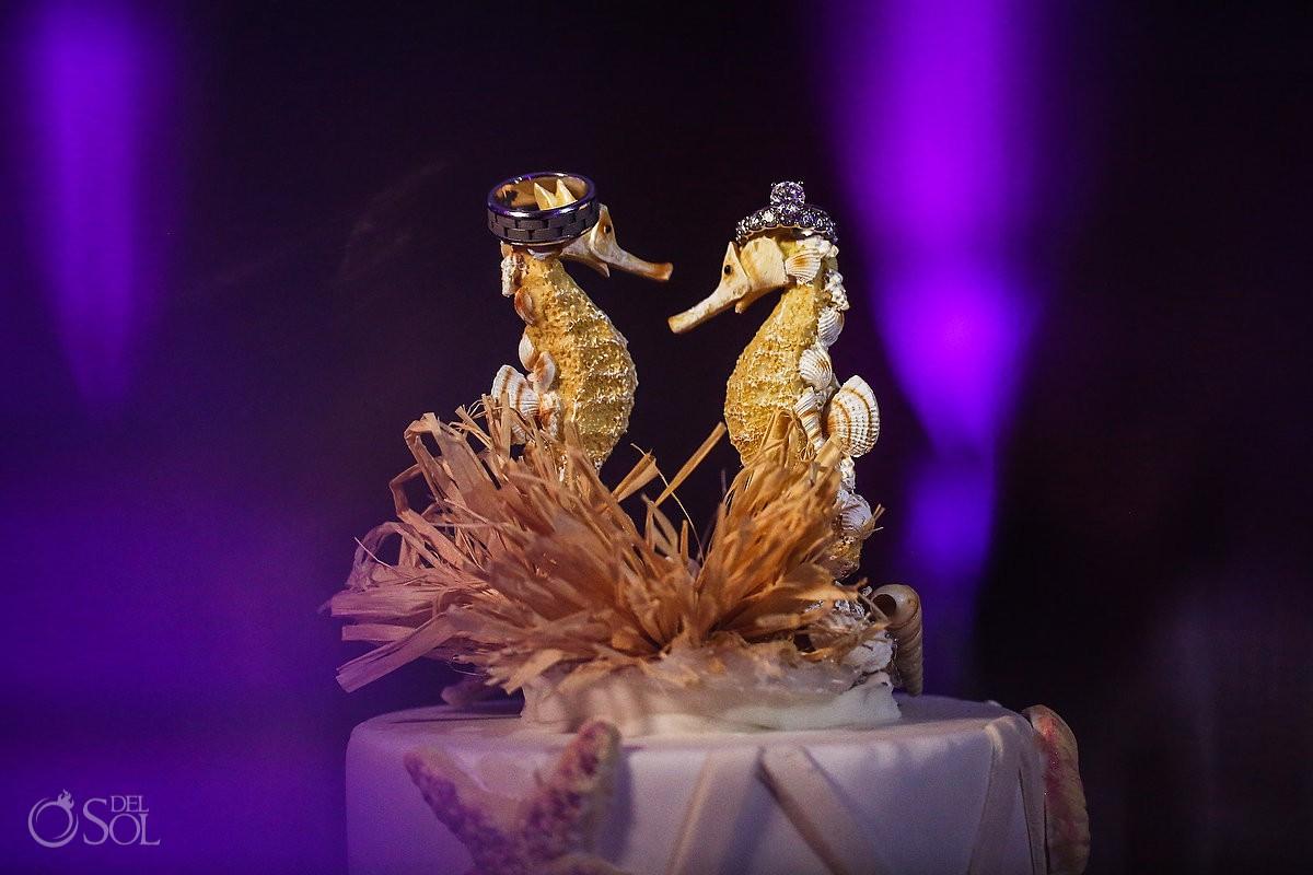 sea horse cake topper wedding ring photo Beach Palace Wedding Cancun Mexico