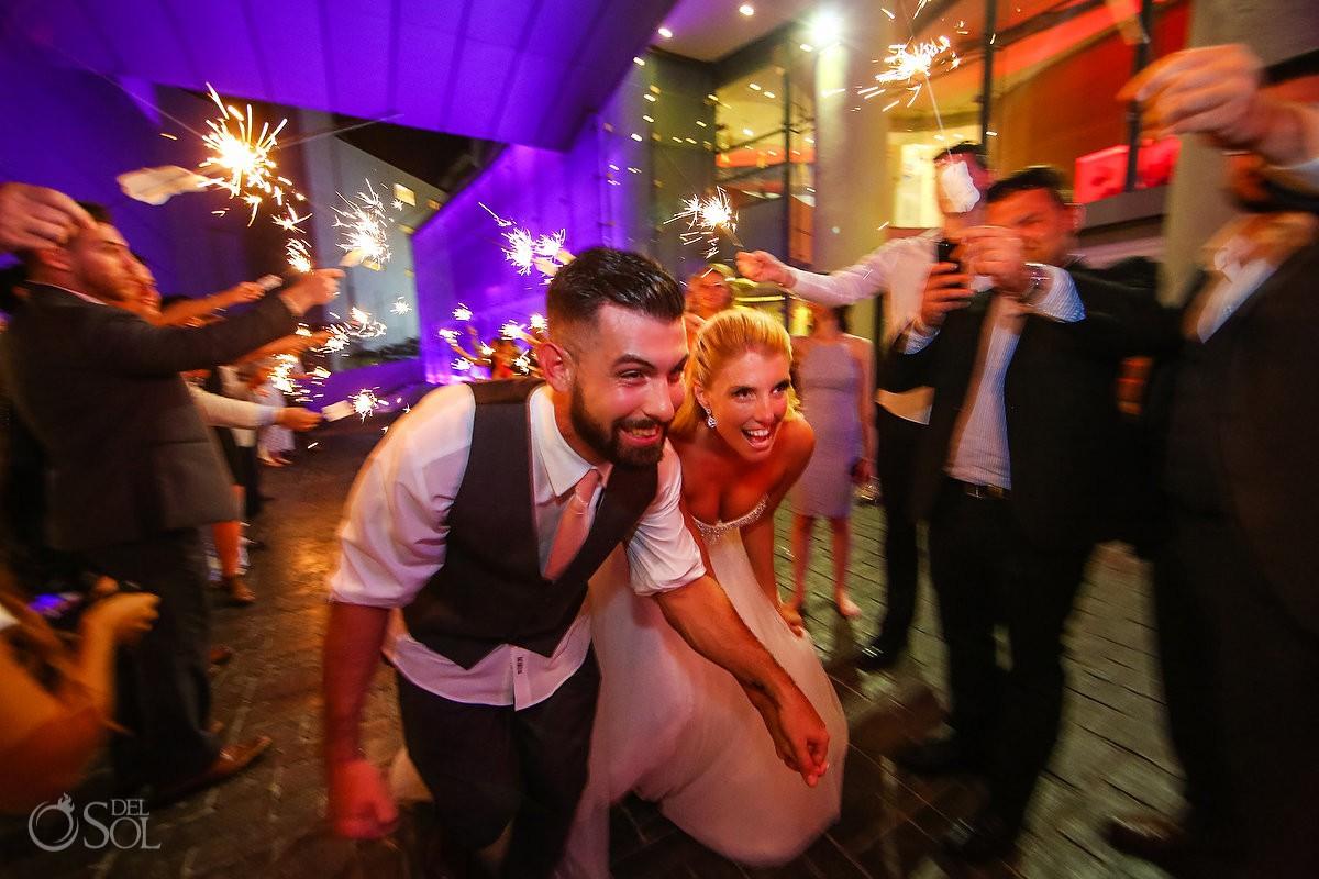Wedding reception send off sparklers Beach Palace Cancun Mexico