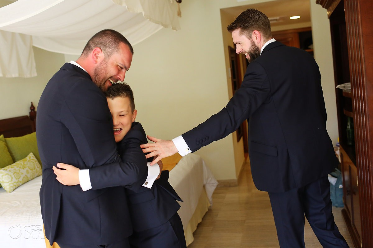 Groom son and groomsman family love moment getting ready NOW Sapphire Riviera Cancun Mexico