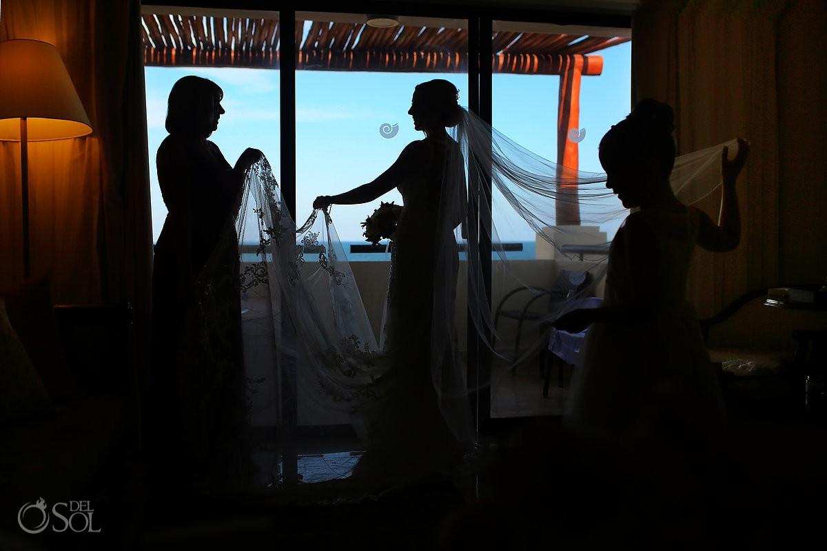 Silhouette Essense of Australiawedding lace train dress bride getting ready NOW Sapphire Riviera Cancun