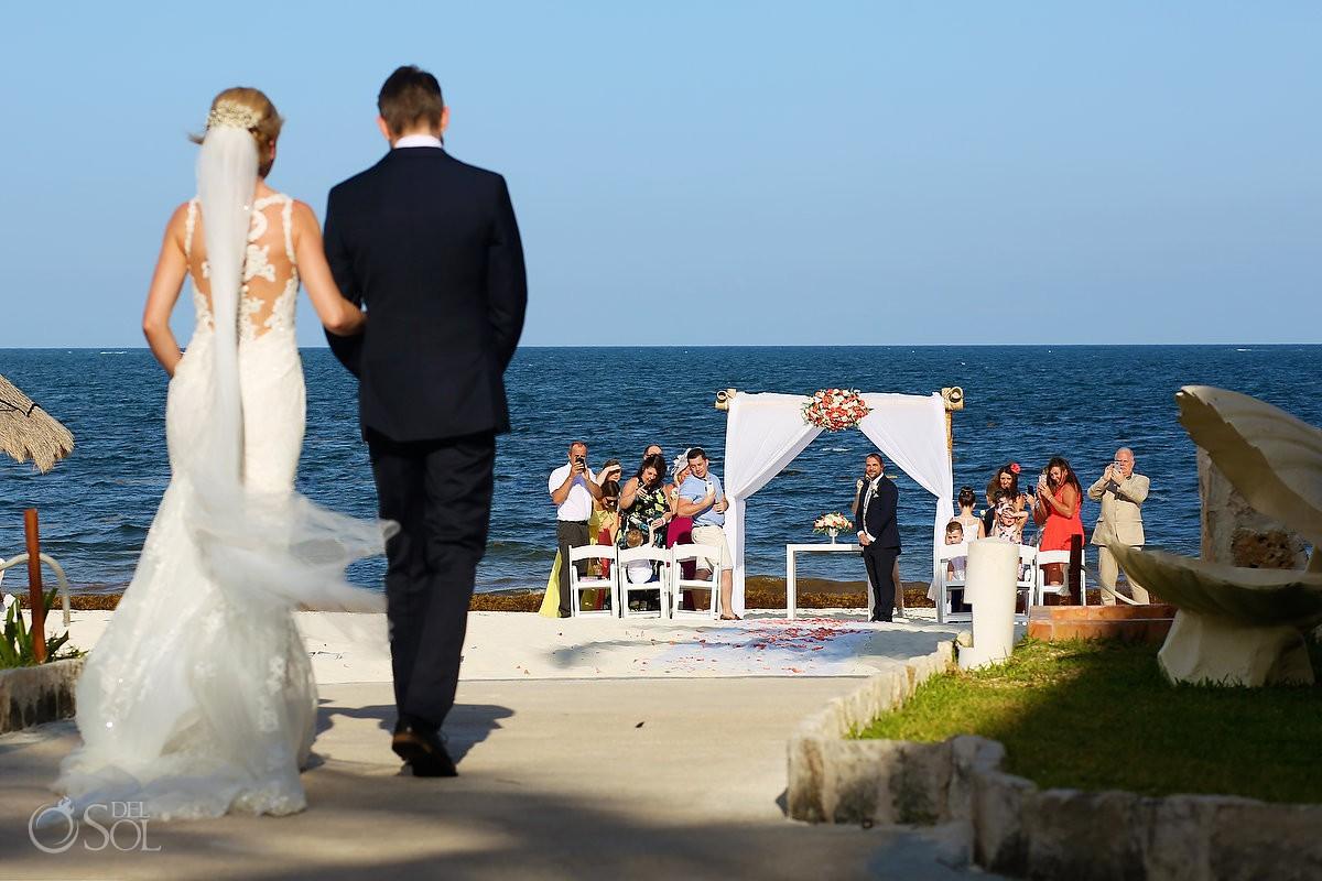 Bride entrance Now Sapphire Hidden Beach Wedding