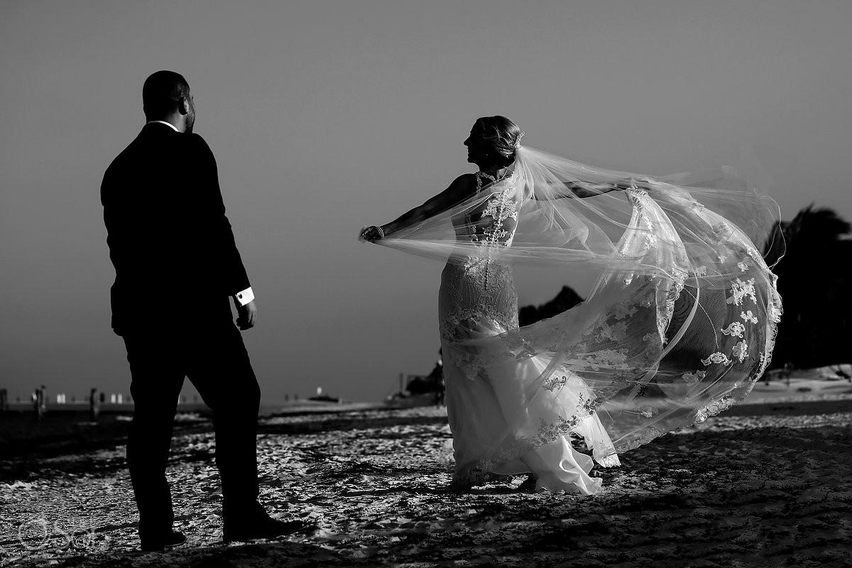 Bride and groom beach wedding portrait Now Sapphire Hidden Beach