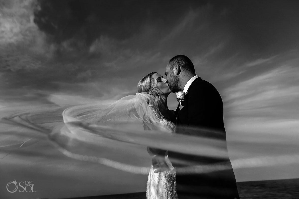 Couple portrait long bridal veil NOW Sapphire wedding photographers Riviera Cancun