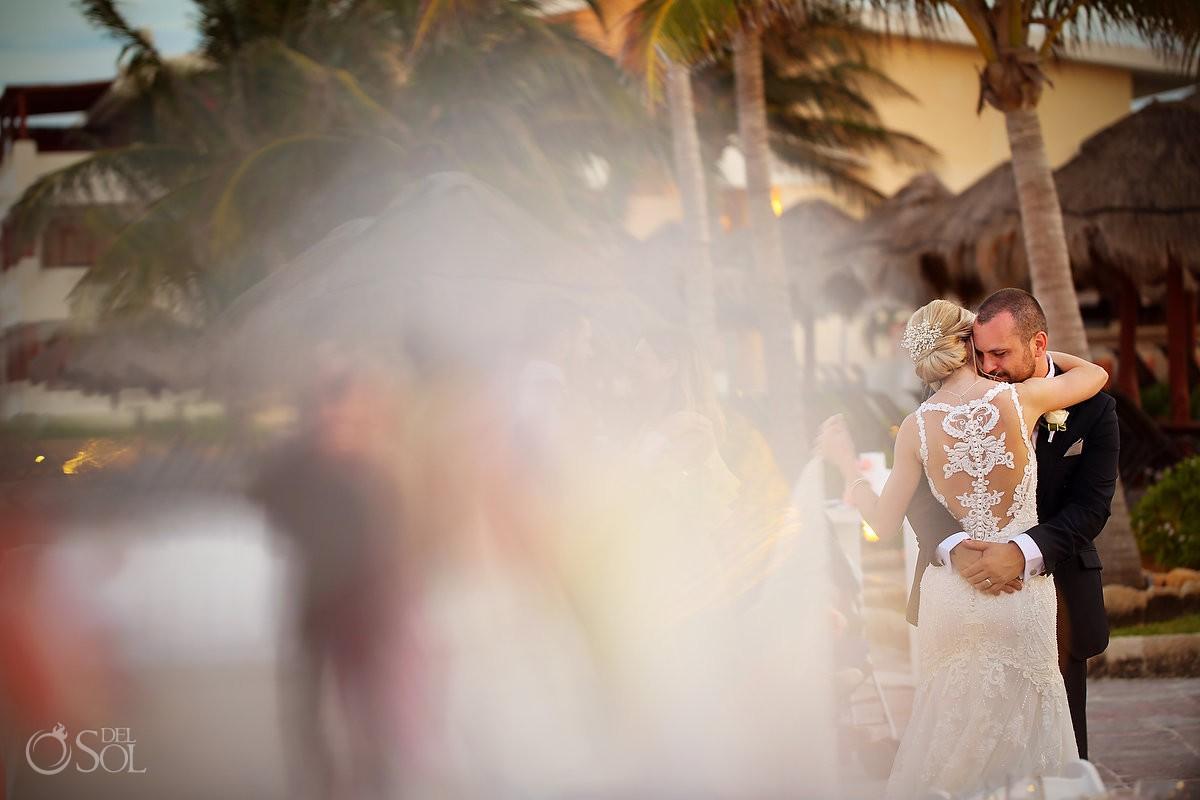 First dance beach terrace NOW Sapphire Wedding reception Riviera Maya Mexico