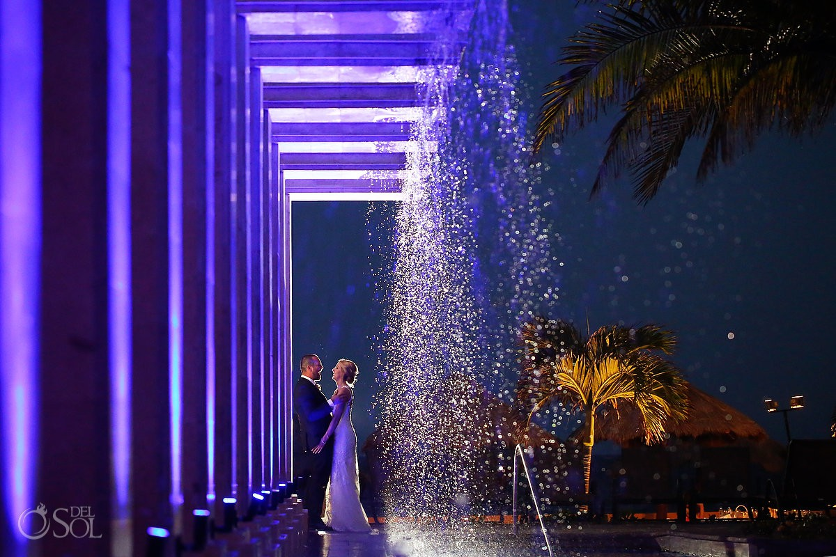 Night portrait water fountain NOW Sapphire Beach Terrace Riviera Maya Mexico