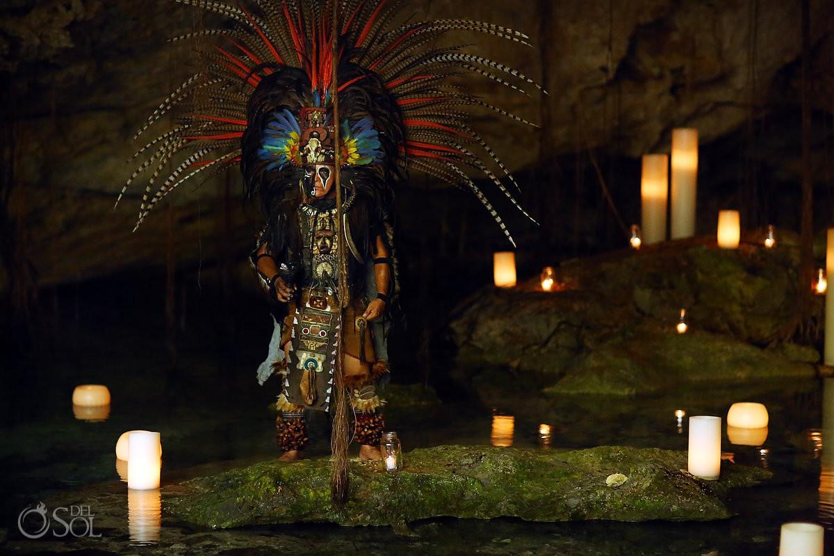 Maya warrior spiritual ceremony Cenote Elopement Riviera maya Mexico