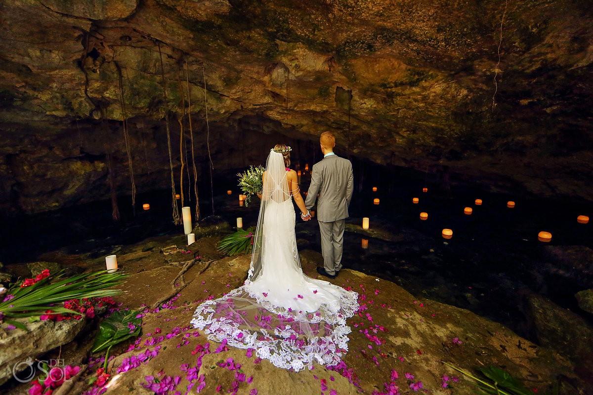 Bride groom portrait cenote elopement Riviera Maya Mexico