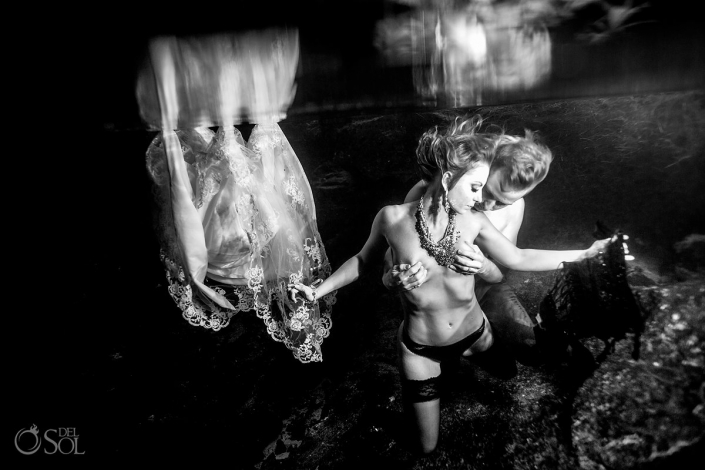 Boudoir underwater fine art nude cenote adam and eve trash the dress