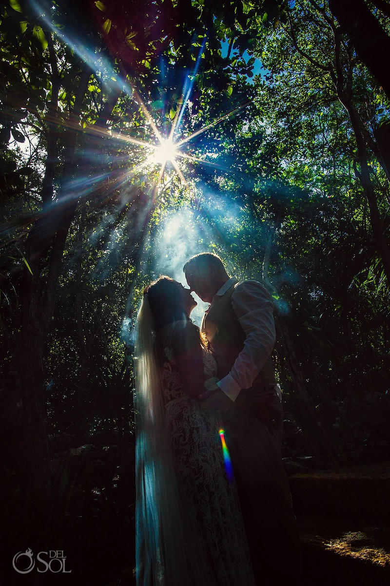 jungle light bride and groom underwater wedding photos