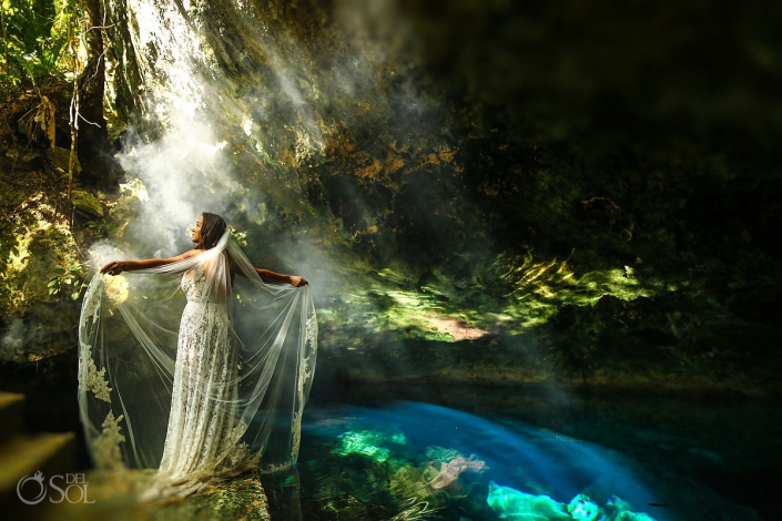 cenote goddess underwater wedding photos