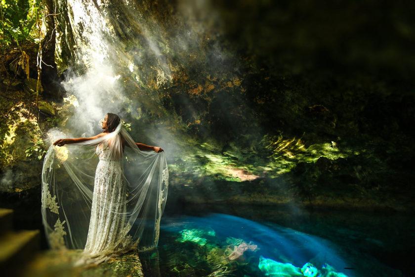 cenote goddess underwater wedding photos