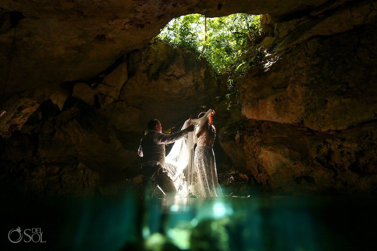 cavern light underwater wedding photos