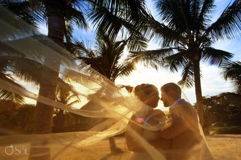 Sunset golden hour Akumal Bay Destination Wedding bride groom portrait