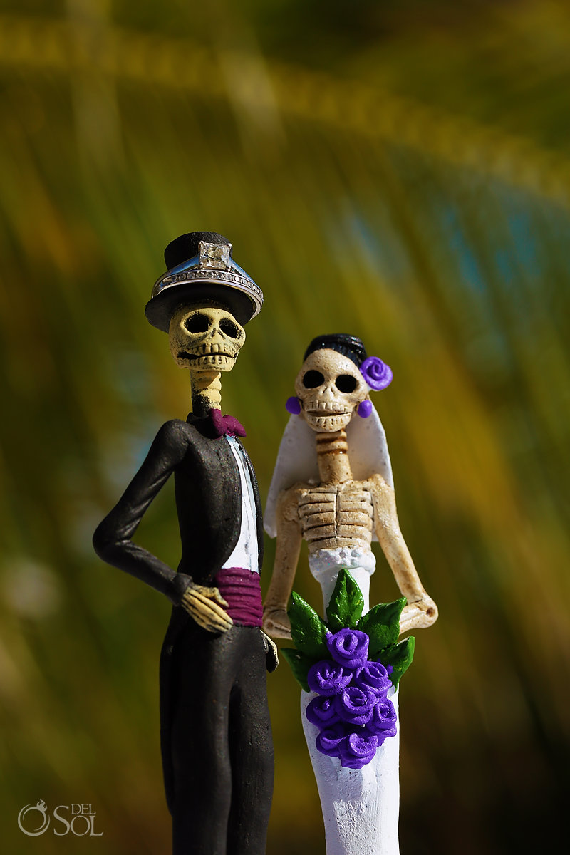Day of the dead wedding details engagement band wedding ring macro photo