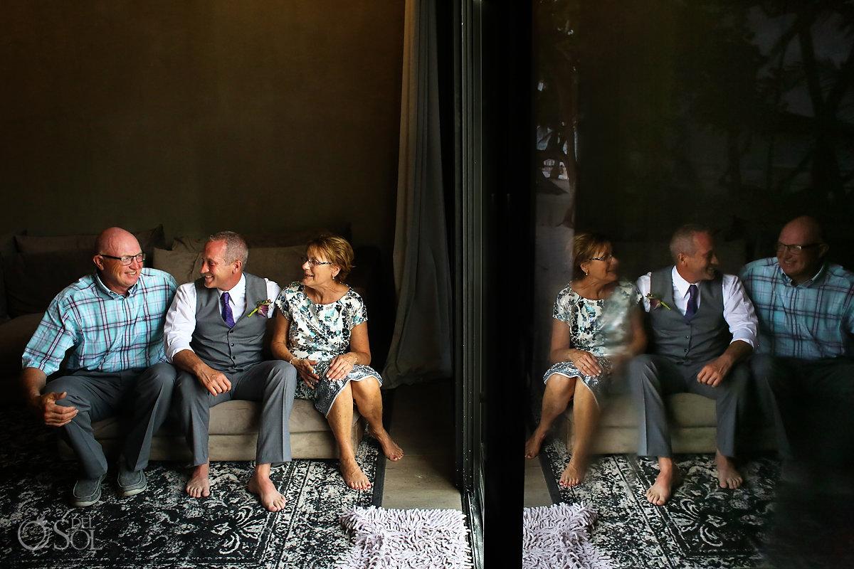 groom taking family photos Casa Malca Tulum Wedding