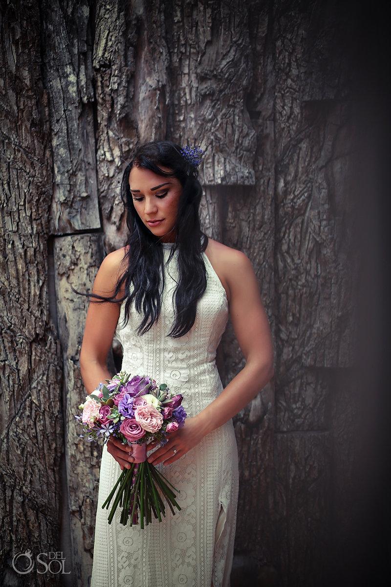romantic bohemian bridal portrait Casa Malca Tulum Wedding