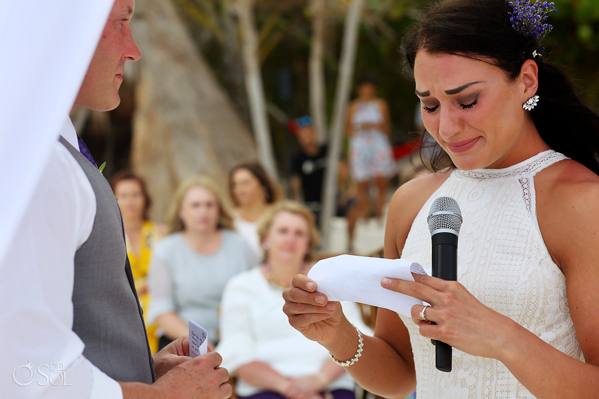 emotional bride crying reading vows Casa Malca Tulum Wedding