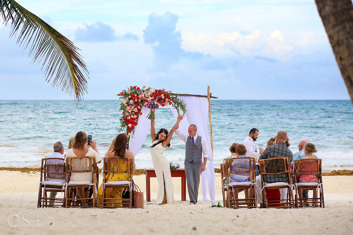 YEAH! Ceremony exit celebration Casa Malca Tulum Wedding
