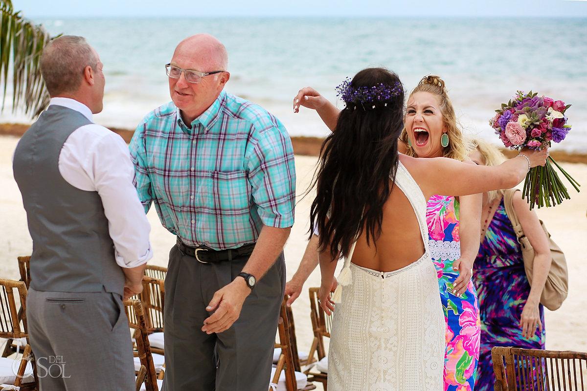 funny wedding photo guests hug bride and groom Casa Malca Wedding