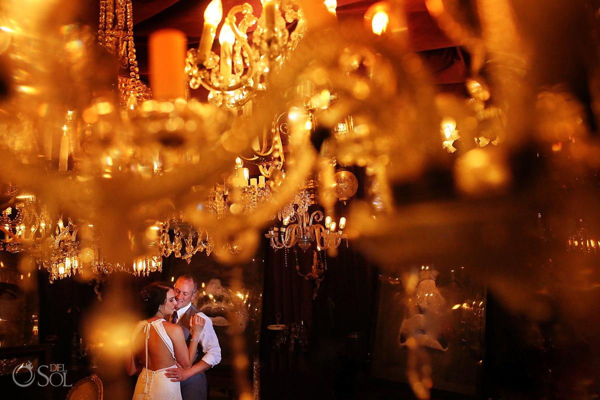 Casa Malca Tulum Wedding portraits chandelier room