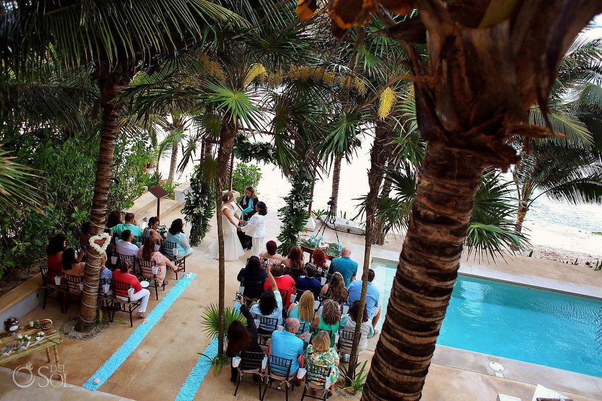 Hacienda Corazon wedding ceremony poolside view