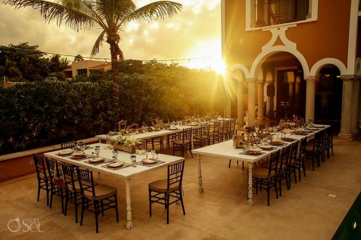 Hacienda Corazon Wedding sunset setup