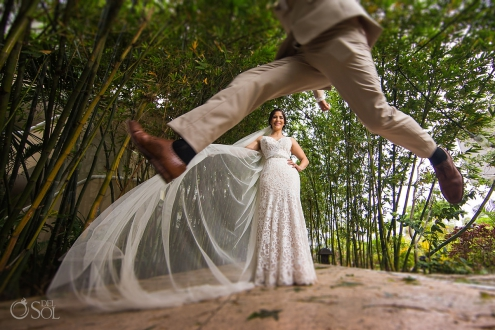 Creative Groom Jump Portrait Tulle Bride Veil Sexy Wedding Dress Lace cut mermaid style Sandos Caracol Eco Resort Playa del Carmen