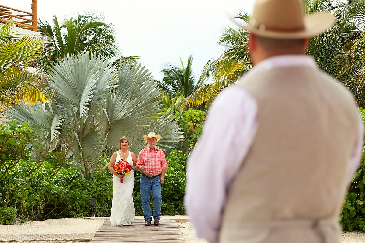 bride entrance Secrets Akumal Elopement Riviera Maya Mexico