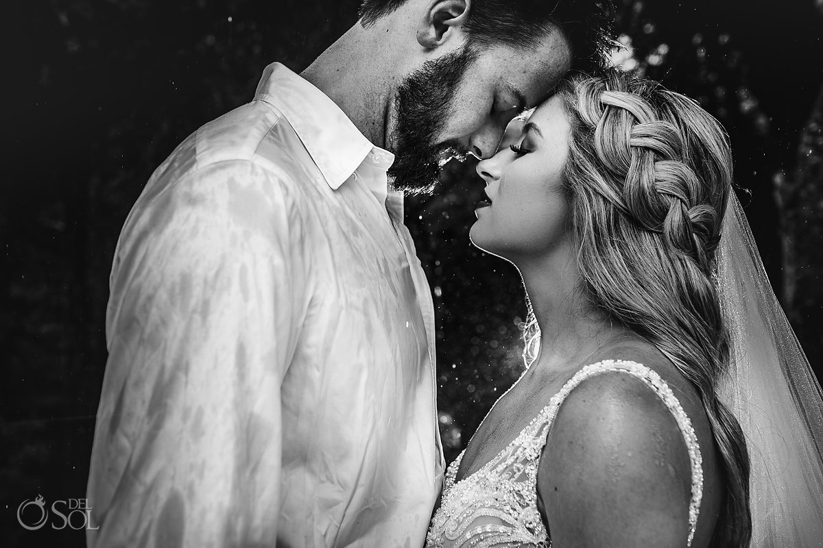 wedding photography in the rain cenote trash the dress Tulum Mexico