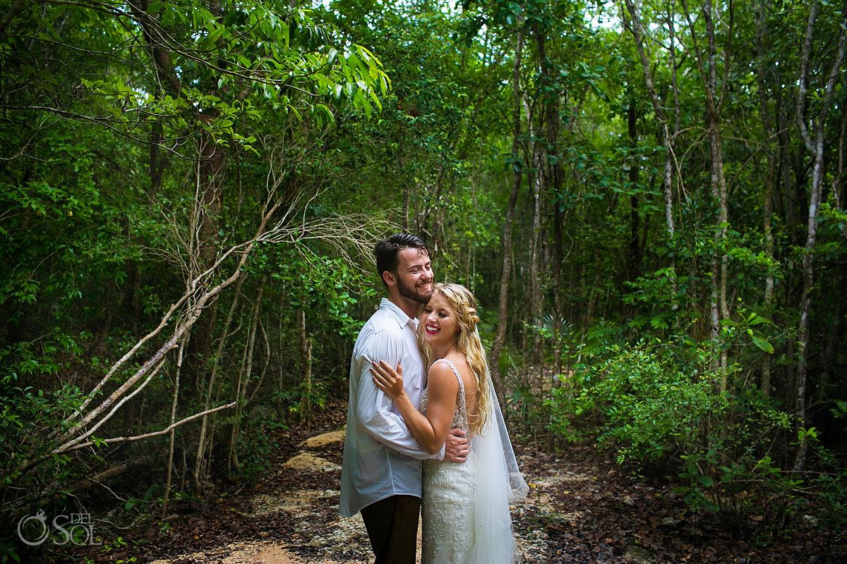 bride groom wedding adventure jungle trash the dress riviera maya mexico