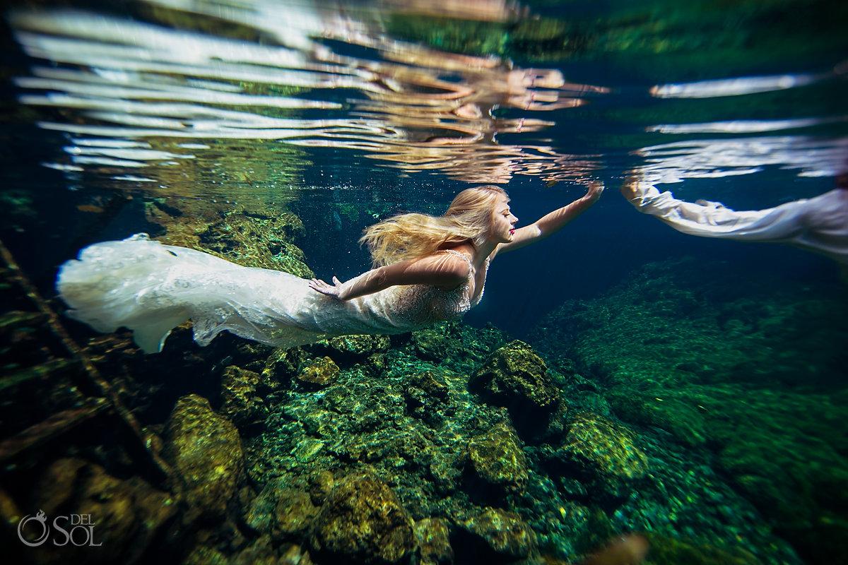Underwater bride wearing Martina Liana Wedding dress Riviera Maya Mexico