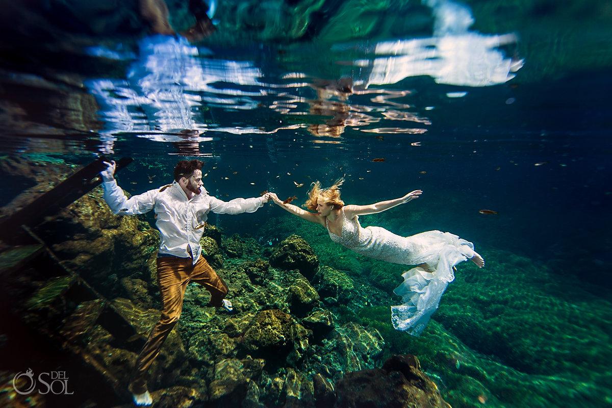underwater bride groom cenote trash the dress rivera Maya mexico