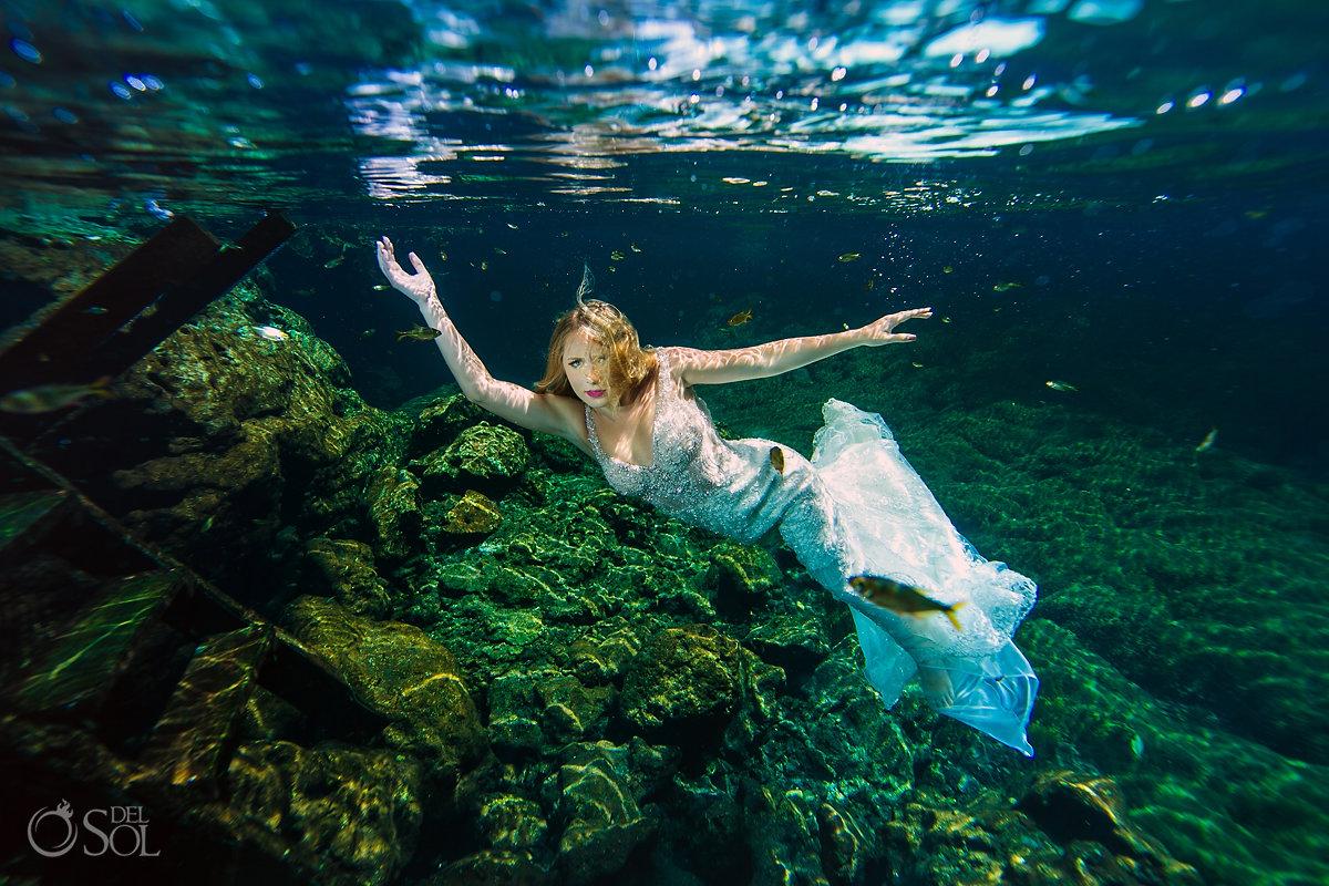 Mermaid Bride wearing Martina Liana Wedding Dress Cenote Trash the Dress Riviera Maya Mexico