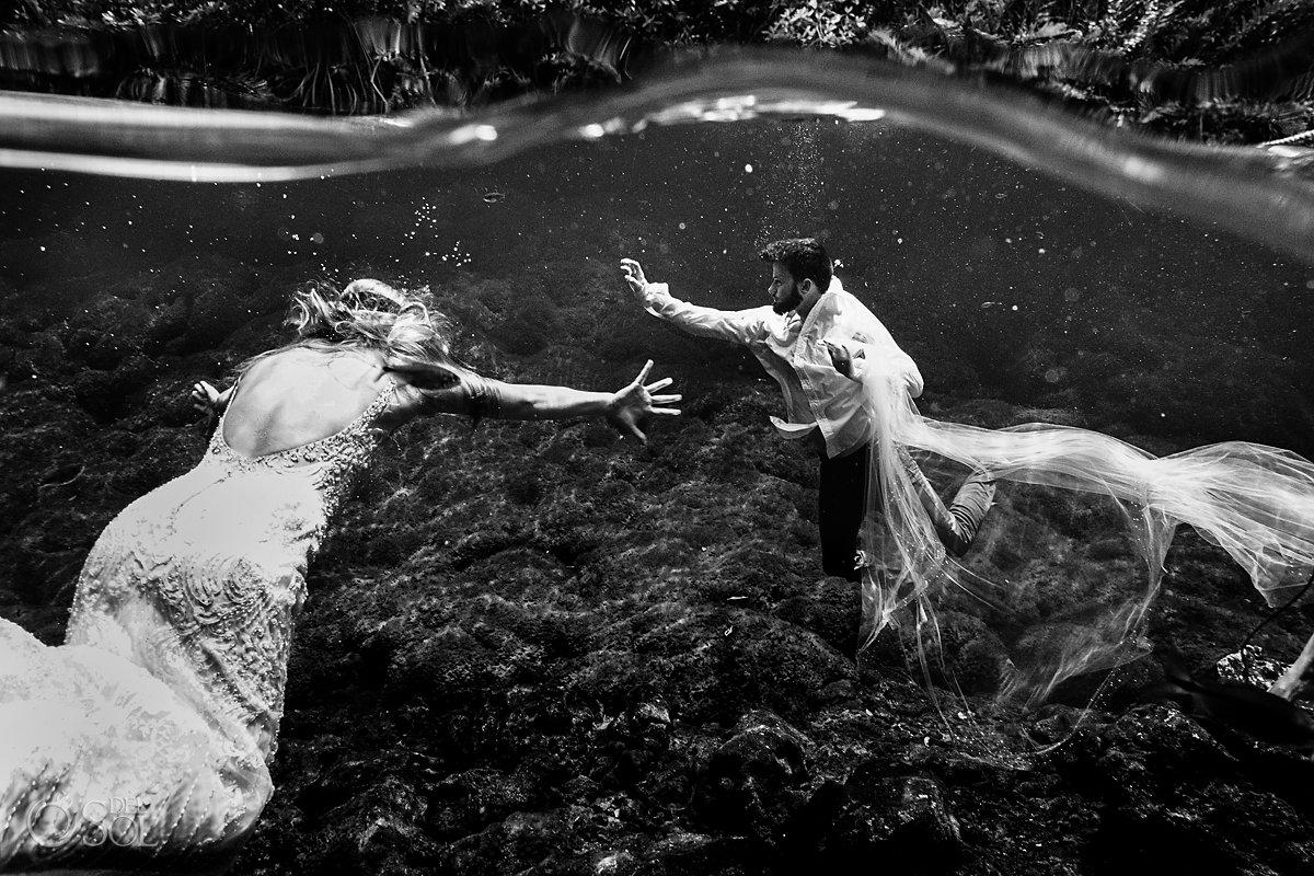 cenote trash the dress Playa del Carmen Mexico