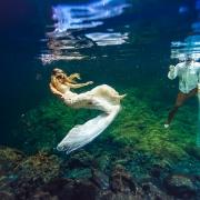 #travelforlove underwater bride trash the dress riviera maya cenote Mexico