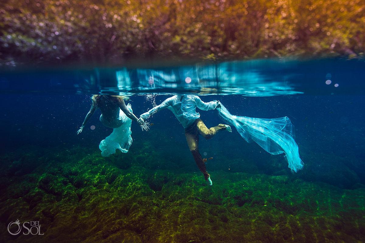unique wedding photo fine art photography underwater Riviera Maya Mexico