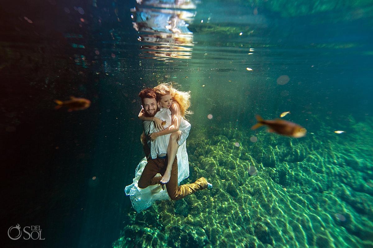 underwater wedding photos cenote trash the dress Riviera Maya Mexico