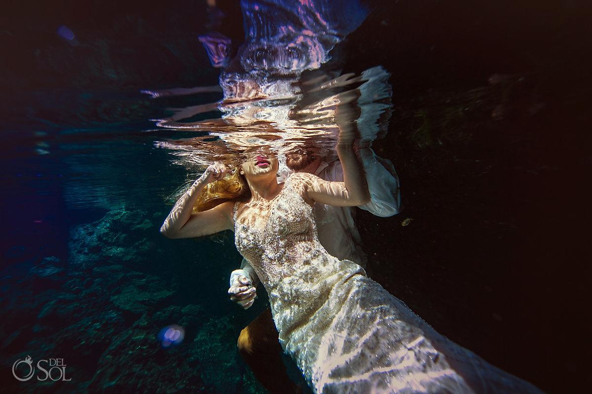 Underwater Bride wearing Martina Liana Wedding Dress Cenote Trash the Dress Riviera Maya Mexico