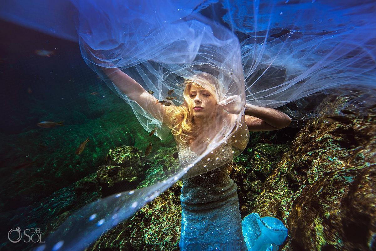 cenote trash the dress Riviera Maya Mexico
