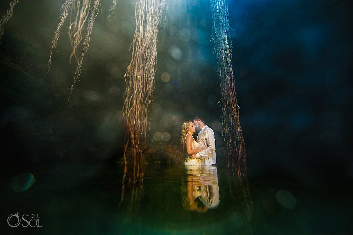 fairytale wedding photo cenote trash the dress riviera Maya Mexico