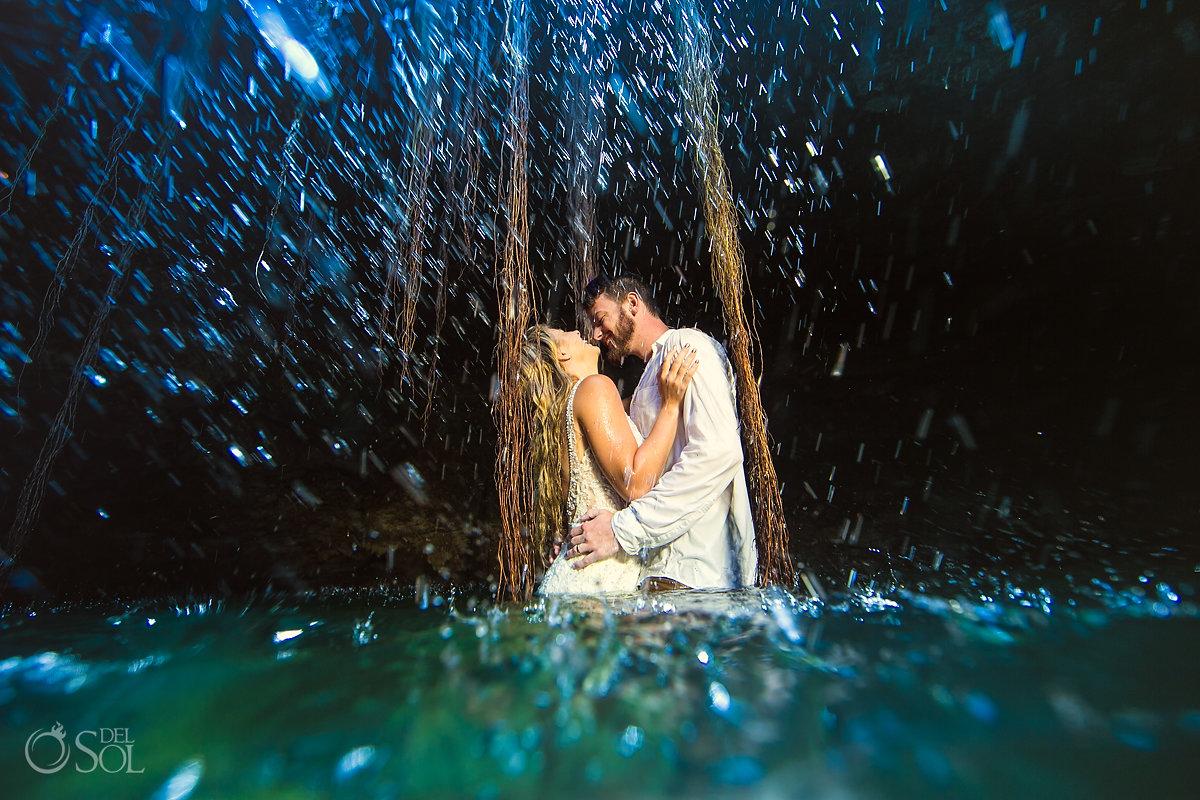 romance adventure unique wedding photos cenote trash the dress Riviera Maya Mexico
