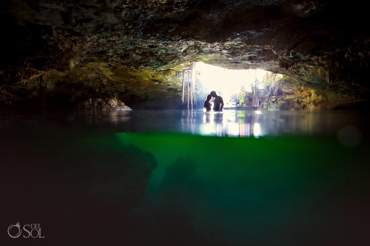 couple silhouette cenote cave trash the dress Riviera Maya Mexico