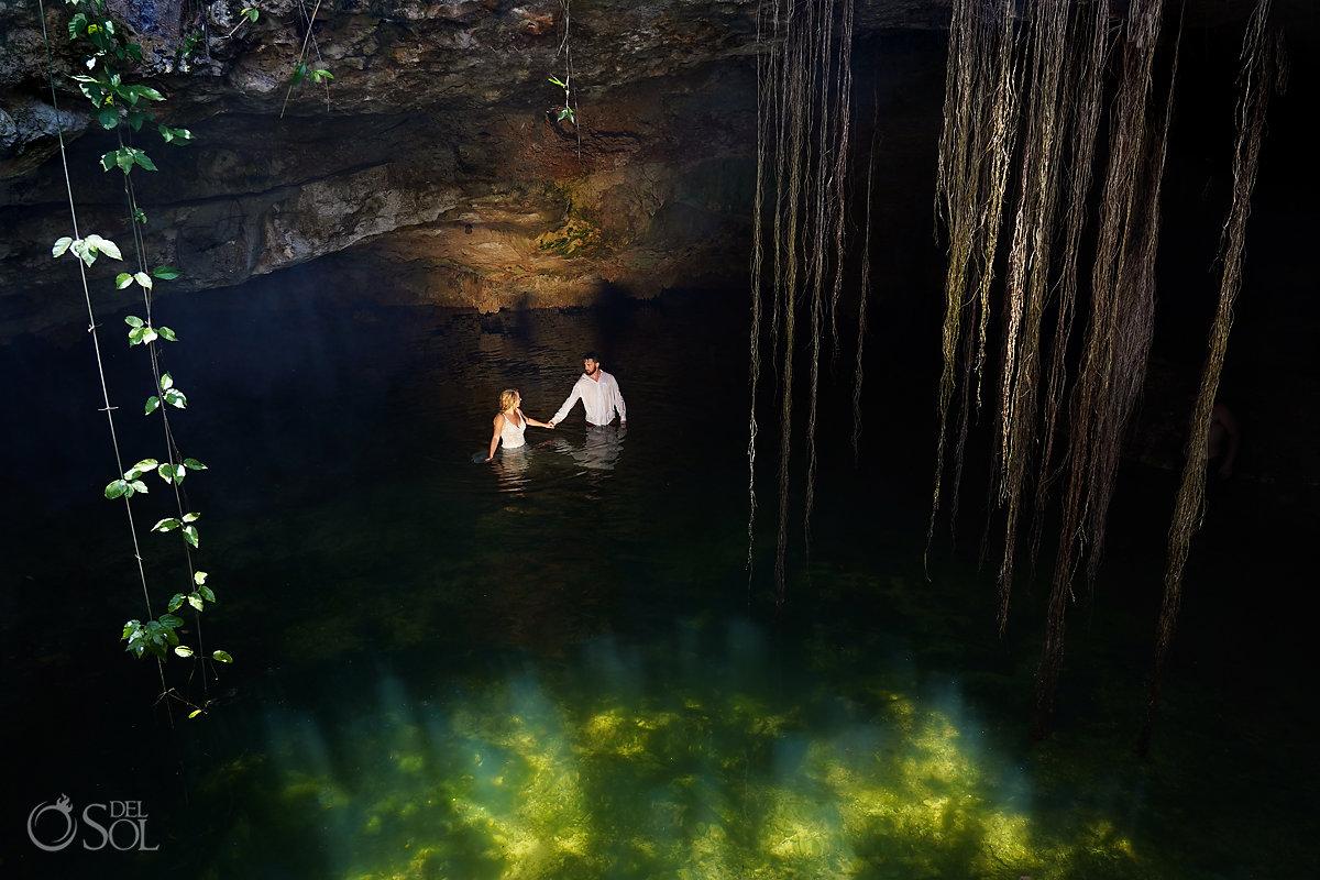 bride groom cenote trash the dress Riviera Maya Mexico