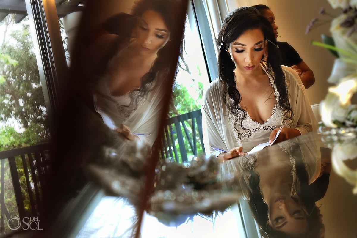 Getting Ready Natural Long Eyelashes Makeup Bride Writing Vows Piano Reflection Portrait