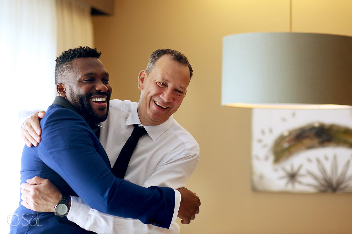 Father in Law Groom Fun Emotive Hug Getting Ready Love Azul Fives Wedding