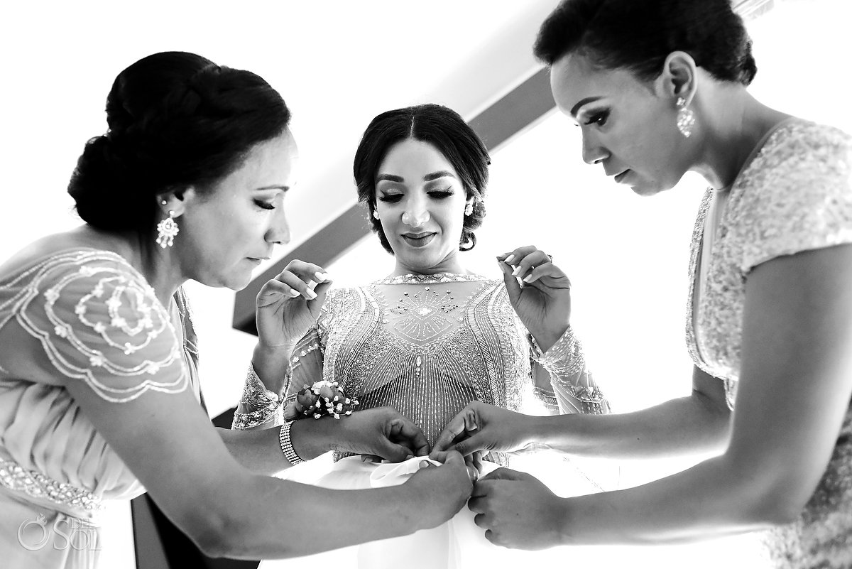 Black White Documentary Photography Getting Ready Mom Made Honor Helping Bride L'Fay Bridal Tulle Transparencies Embroidered Sparkling Stones